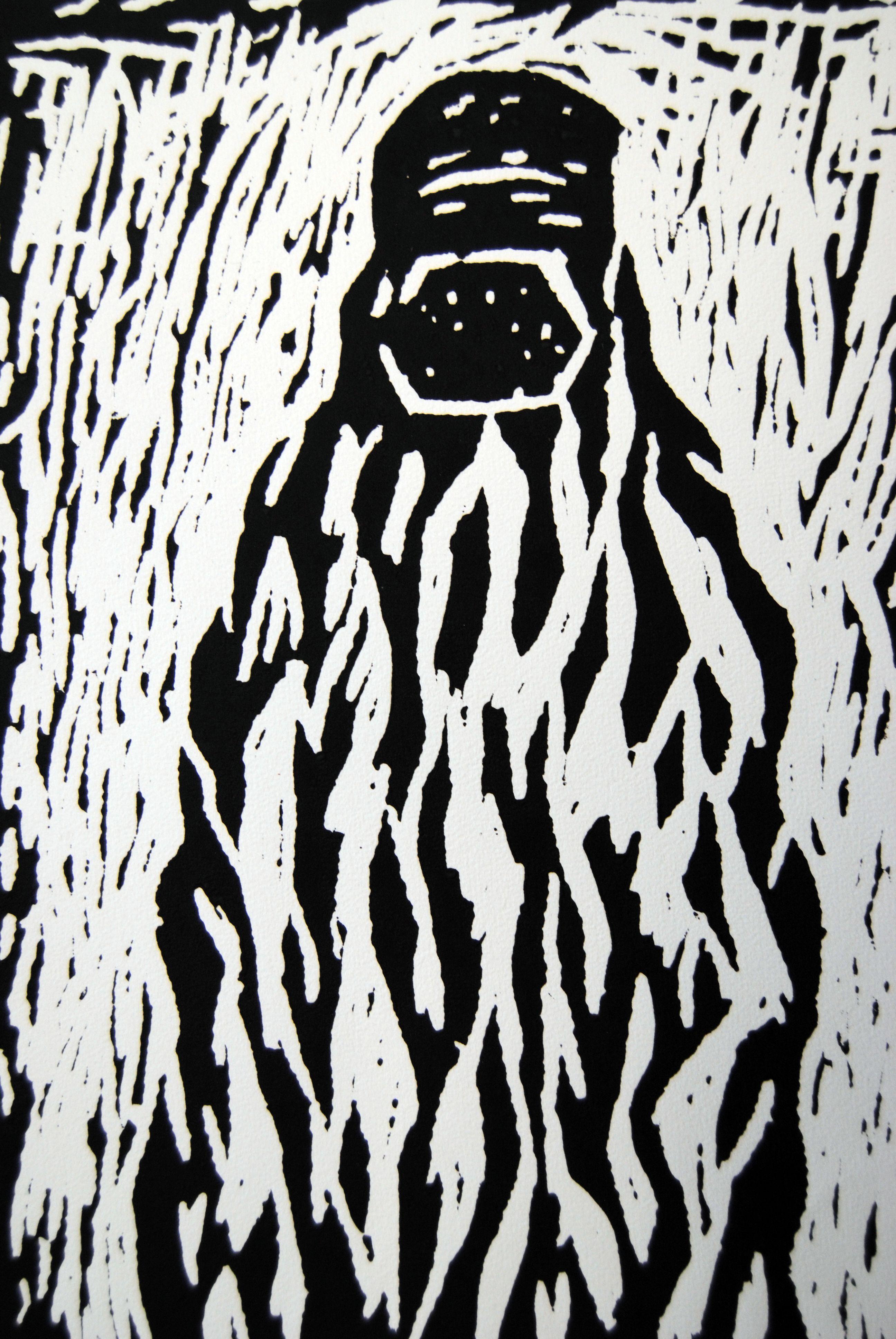 Afghanische Frau I, 2008, Linolschnitt