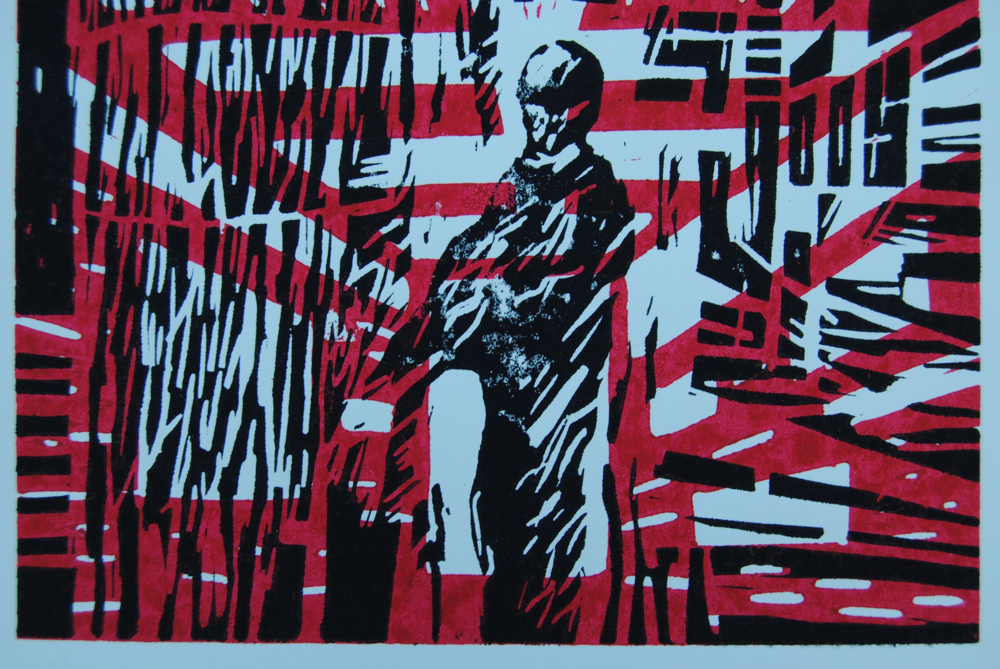 Bauarbeiter, 2010, Linolschnitt
