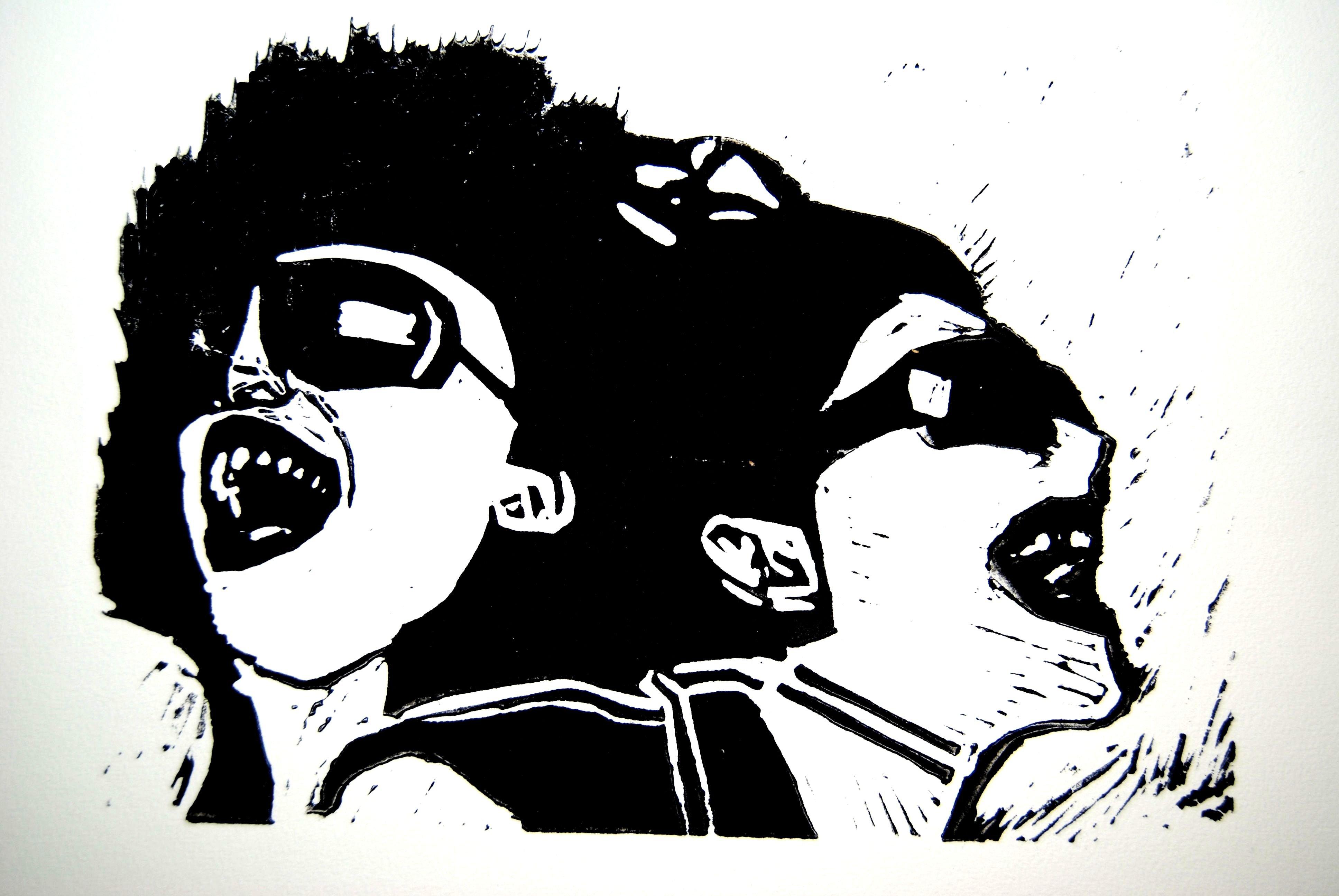 Loveparade, 2008, Linolschnitt