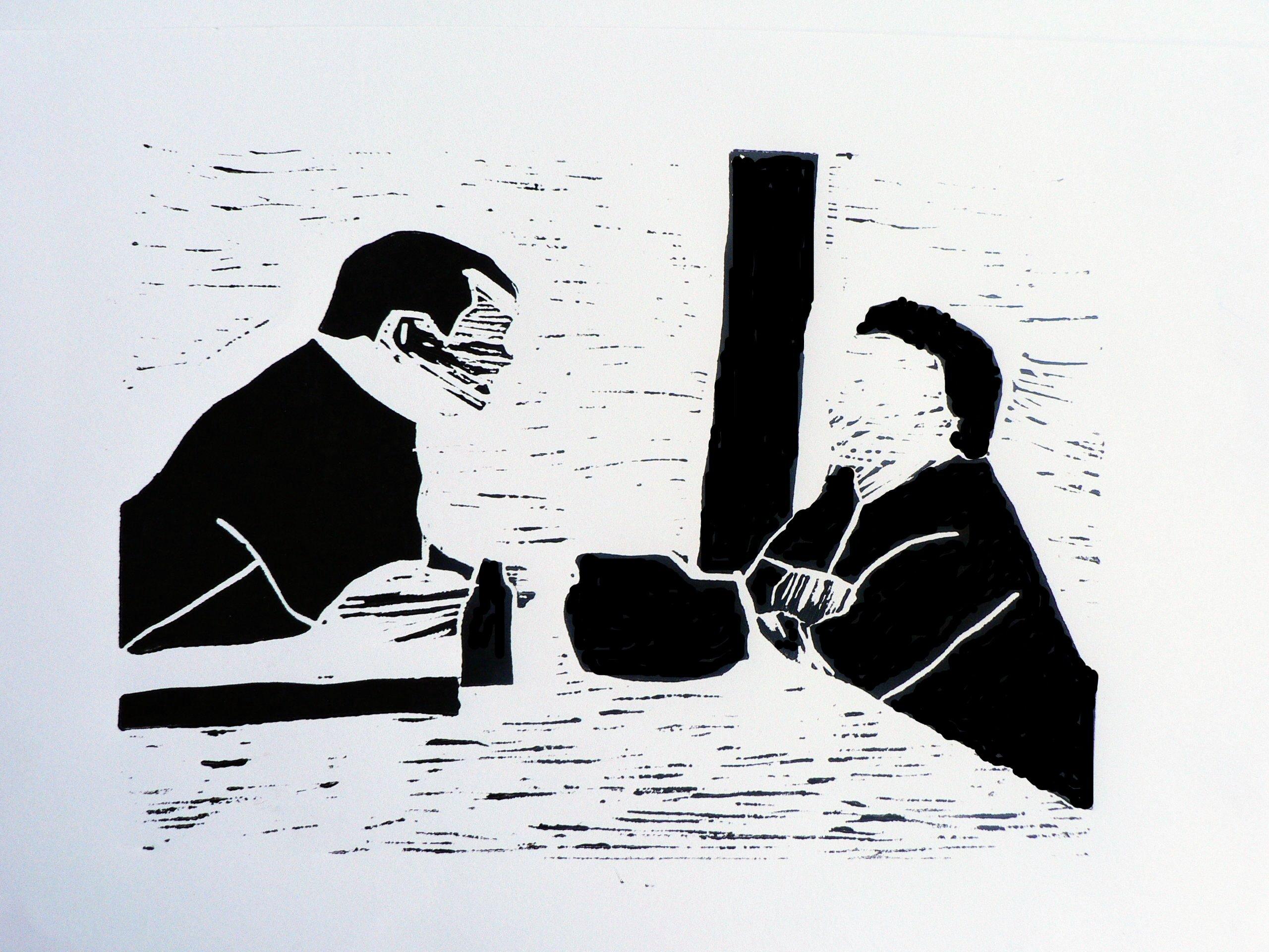 Stadtgesprach 3, 2008, Linolschnitt