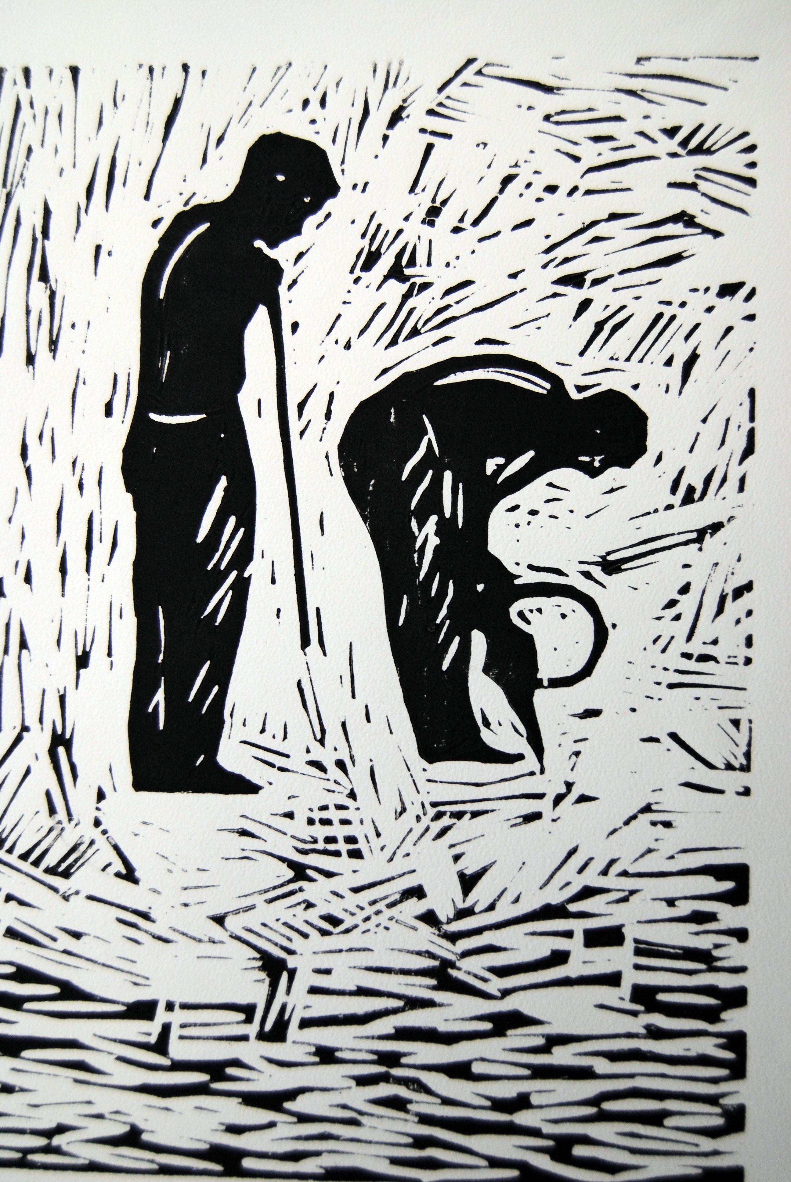 Zwei Bauarbeiter, 2008, Linolschnitt