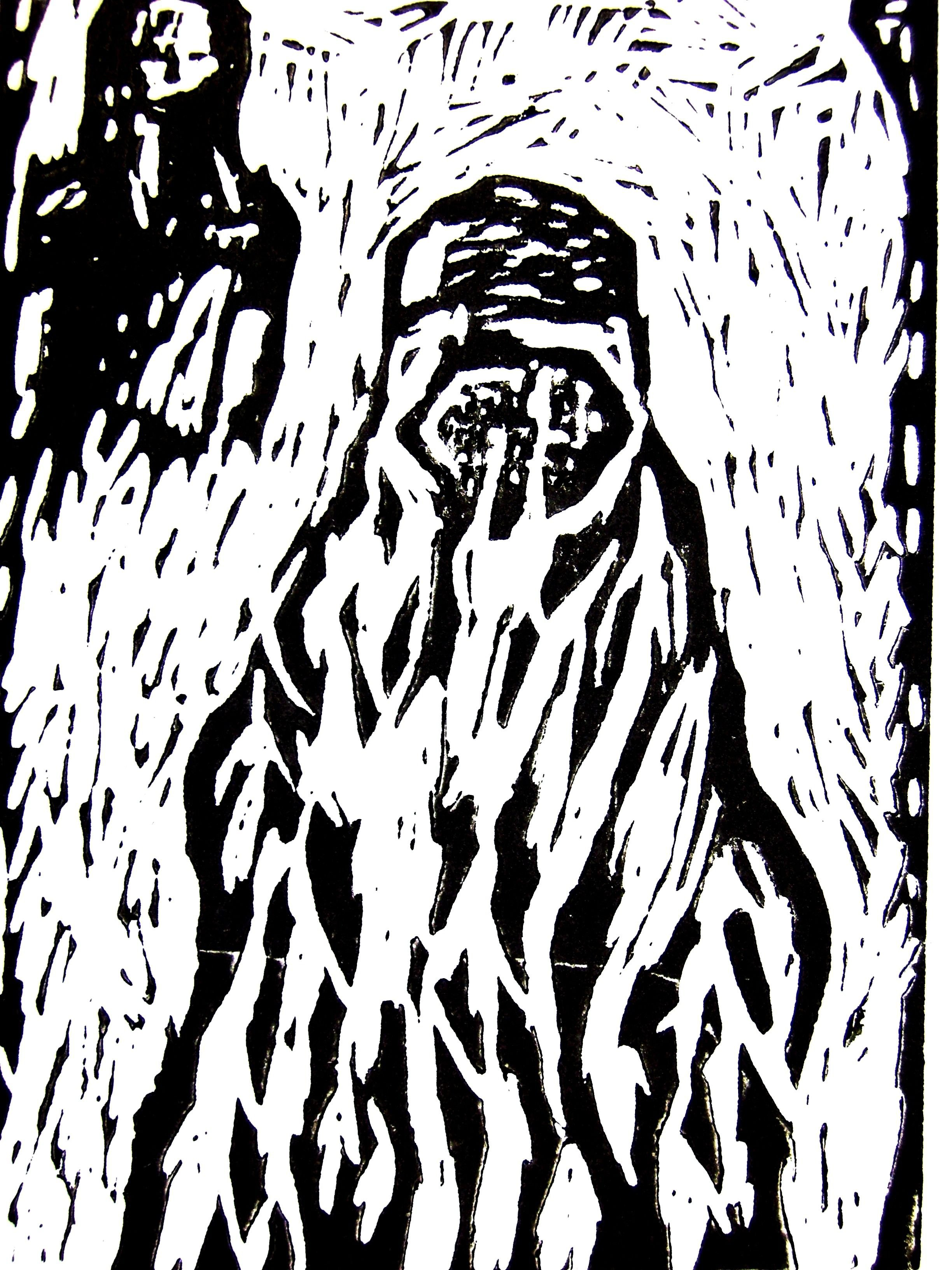 Zwei Frauen , 2007, Linolschnitt