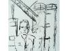 Kranmann I,  2004, Kohle auf Papier, 50 x 30 cm
