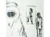 Zwei Frauen 1, 2004, Kohle auf Papier, 50 x 30 cm