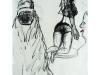 Zwei Frauen 3, 2004, Kohle und Öl auf Papier, 50 x 30 cm